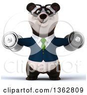 Clipart Of A 3d Bespectacled Business Panda In A Green Tie Working Out Doing Lateral Raises With Dumbbells On A White Background Royalty Free Illustration