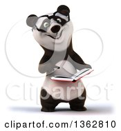 Clipart Of A 3d Bespectacled Panda Holding And Pointing To A Book On A White Background Royalty Free Illustration