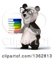 Clipart Of A 3d Bespectacled Panda Holding A Stack Of Books On A White Background Royalty Free Illustration