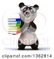 Clipart Of A 3d Bespectacled Panda Holding And Pointing To A Stack Of Books On A White Background Royalty Free Illustration