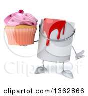 Poster, Art Print Of 3d Paint Can Character Holding A Cupcake And Shrugging On A White Background