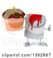Poster, Art Print Of 3d Paint Can Character Holding A Cupcake And Giving A Thumb Up On A White Background