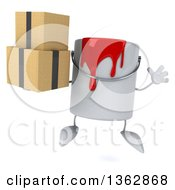 Poster, Art Print Of 3d Paint Can Character Holding Boxes And Jumping On A White Background