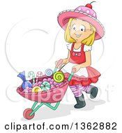 Happy Blond White Girl Pushing Candy In A Wheelbarrow