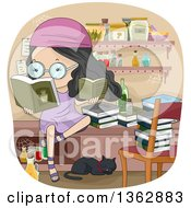 Clipart Of A Black Haired Girl Reading Witchcraft Books In A Room With Jars And A Cat Royalty Free Vector Illustration by BNP Design Studio