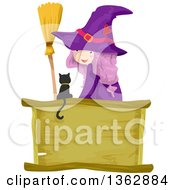 Clipart Of A Purple Haired Witch Girl Looking Back Sitting With A Broom And Black Cat Over A Blank Wood Sign Royalty Free Vector Illustration