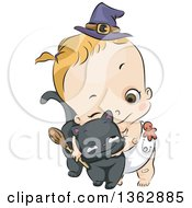 Clipart Of A Cartoon Blond Caucasian Toddler Witch Girl Holding A Broom And Hugging A Black Cat Royalty Free Vector Illustration