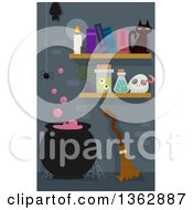 Clipart Of A Boiling Witch Cauldron With A Spider Bat Broomstick Cat And Shelves Royalty Free Vector Illustration by BNP Design Studio