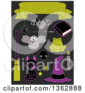 Clipart Of Halloween Sticker Style Accessories On Gray Royalty Free Vector Illustration