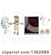 Clipart Of A Witchcraft Voodo Herbs A Doll Spell Book Pins And Candles Royalty Free Vector Illustration