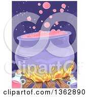 Clipart Of A Boiling Witch Cauldron Over A Filre With Potion Bottles Royalty Free Vector Illustration
