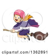 Clipart Of A Happy Red Haired White Witch Girl Wearing A Helmet Flying On A Broomstick Royalty Free Vector Illustration