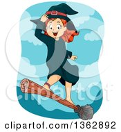 Clipart Of A Happy Red Haired White Witch Girl Standing And Flying On A Broomstick Royalty Free Vector Illustration