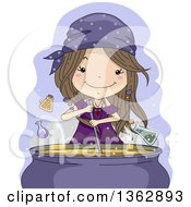 Happy Brunette White Witch Girl Mixing A Magic Potion Spell In A Cauldron