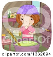 Clipart Of A Happy Brunette White Witch Girl Adding Spices To A Soup Or Potion Spell Royalty Free Vector Illustration by BNP Design Studio