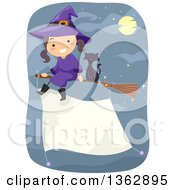 Happy Witch Girl And Black Cat Flying On A Broomstick With A Blank Banner Sign Attached Over A Night Sky