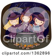 Trio Of Happy White Witch Girls Making A Potion Spell In A Cauldron In A Forest At Night