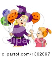Clipart Of A Happy Blond Caucasian Girl In A Witch Fostume Handing A Halloween Party Balloon To Her Sister Royalty Free Vector Illustration