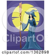 Clipart Of A Witch In A Blue Cloak Holding A Black Kitten And Broomstick Against A Full Moon Royalty Free Vector Illustration