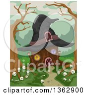 Clipart Of A Tree Stump House With A Witch Hat Roof And Human Bones In The Woods Royalty Free Vector Illustration