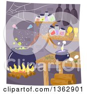 Clipart Of A Witch Interior With A Cauldron And Magic Ingredients Mixing Themselves Royalty Free Vector Illustration