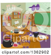 Classroom With Witch Potions And Cauldrons