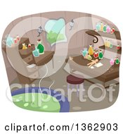 Clipart Of A Witch Laboratory With A Boiling Cauldron Royalty Free Vector Illustration