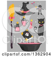 Clipart Of Black And Pink Witch Accessories Over Gray Royalty Free Vector Illustration by BNP Design Studio