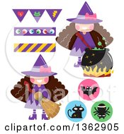 Clipart Of Witch Girls With Icons And Banners Royalty Free Vector Illustration