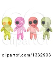Clipart Of Patterned Voodoo Dolls With Stitches Royalty Free Vector Illustration by BNP Design Studio