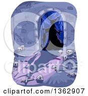 Clipart Of A Silhouetted Witch In A Dungeon Entrance Arch With Bones On The Floor Royalty Free Vector Illustration