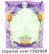 Clipart Of A Halloween Frame With A Skull Banner Witch Hats Broomsticks And Cauldron Royalty Free Vector Illustration