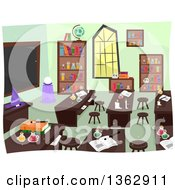 Clipart Of A Witch And Wizardry School Class Room Interior Royalty Free Vector Illustration