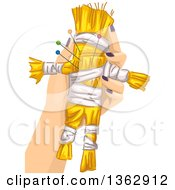 Clipart Of A White Hand Holding A Voodoo Doll With Needles Royalty Free Vector Illustration