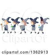 Happy Wizard Boys And Witch Girls Walking In Line Carrying Accessories