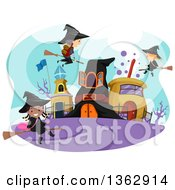 Clipart Of Child Witches And A Wizard Flying Around A Town Royalty Free Vector Illustration