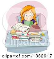 Stressed Red Haired White Girl Sitting At A Desk With Homework And A Pile Of Books