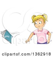Clipart Of A Mad Blond White Girl Throwing A Book Royalty Free Vector Illustration