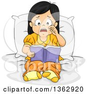 Clipart Of A Sad Asian Girl Sitting On A Bed And Crying Whiel Reading A Sad Story Book Royalty Free Vector Illustration