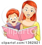 Happy Red Haired Caucasian Mother Reading A Story Book To Her Daughter