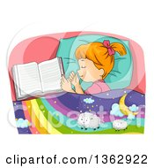Clipart Of A Red Haired Caucasian Girl Sleeping By An Open Book Dreaming Of Sheep On A Rainbow Royalty Free Vector Illustration by BNP Design Studio