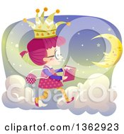 Clipart Of A Pink Haired Caucasian Girl Reading A Story Book And Reading While Walking On Clouds Royalty Free Vector Illustration by BNP Design Studio
