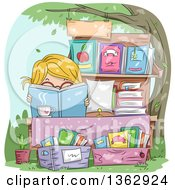 Clipart Of A Blond White Girl Reading Behind A Book At A Yard Sale Royalty Free Vector Illustration by BNP Design Studio