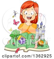 Clipart Of A Happy Red Haired Caucasian Girl Opening A Fairy Tale Pop Up Book With Witches And Castles Royalty Free Vector Illustration