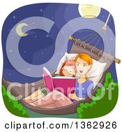 Caucasian Mother And Daughter Sitting In A Hammock At Night And Reading A Story Book
