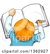 Clipart Of An Aerial View Of A Red Haired White School Boy Writing In A Book Royalty Free Vector Illustration by BNP Design Studio