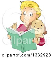 Happy Blond White Boy Holding A Puppy And Reading A Book