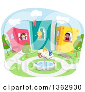 Clipart Of Stick School Children In Book Houses With An Alphabet And Number Court Yard Royalty Free Vector Illustration