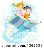 Clipart Of A Caucasian Boy And Girl Flying On A Book Royalty Free Vector Illustration