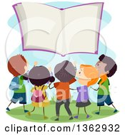 Clipart Of A Group Of Children Gathered Around A Floating Book Royalty Free Vector Illustration